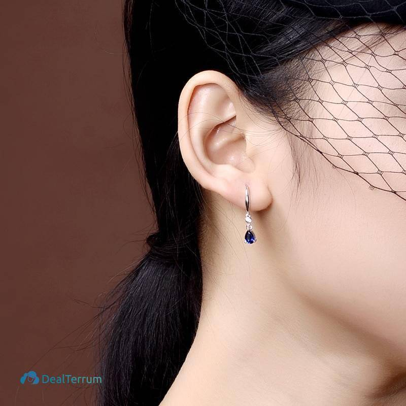 Women's 925 Silver Earrings with Sapphire Earrings Women Jewelry